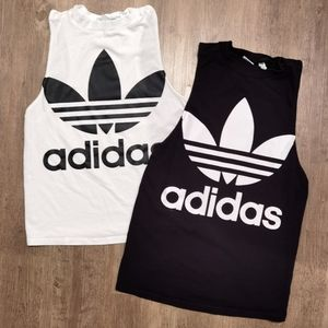 Adidas athletic tank white & black bundle